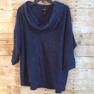 Style & Co. Sparkly Navy Cowl Neck Sweater 2X